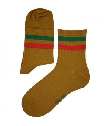 جوراب نیم ساق Chetic طرح دو خط قهوهای سبز قرمز