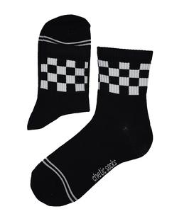 جوراب نیم ساق Chetic چتیک طرح نیمه شطرنجی مشکی سفید
