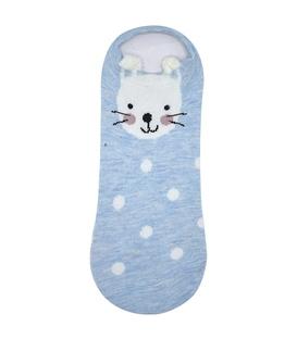 جوراب گوشدار قوزکی طرح خرگوش خال خالی آبی سفید