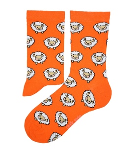 جوراب ساق دار Chetic چتیک طرح گوسفند کوچولو نارنجی