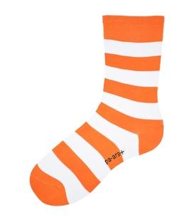 جوراب نانو ساقدار پاآرا طرح راه راه نارنجی سفید