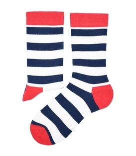 جوراب ساق دار هپی و مپی طرح راه راه سفید سرمهای قرمز