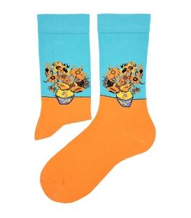 جوراب ساق دار هپی و مپی طرح گل آفتابگردان آبی نارنجی