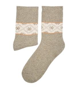 جوراب پشمی طرح هندسی خاکی