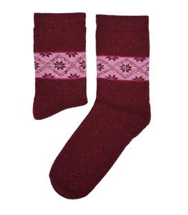 جوراب پشمی طرح هندسی زرشکی