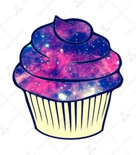 استیکر LooLoo طرح کاپ کیک کهکشانی