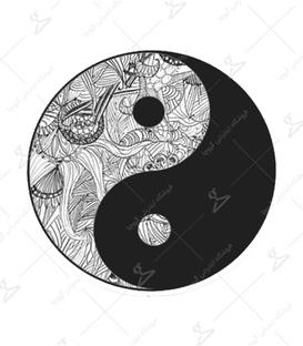 استیکر LooLoo طرح یین و یانگ سیاه سفید
