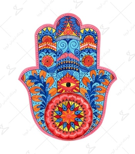 استیکر LooLoo طرح دست خمسه رنگی