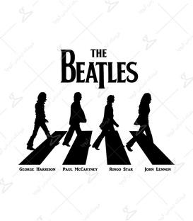 استیکر LooLoo طرح The Beatles مشکی سفید