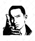 استیکر LooLoo طرح Eminem مشکی سفید