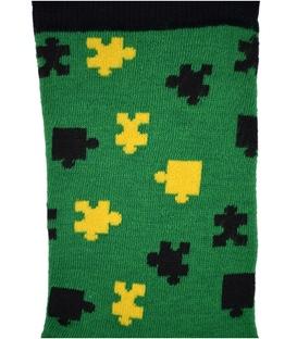 جوراب نانو ساق دار پاآرا طرح پازل سبز مشکی