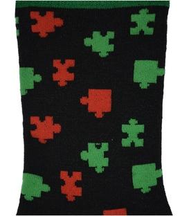 جوراب نانو ساق دار پاآرا طرح پازل مشکی سبز