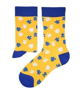 جوراب نانو ساق دار پاآرا طرح پازل زرد آبی