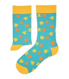 جوراب نانو ساق دار پاآرا طرح پازل آبی روشن زرد