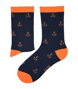 جوراب ساق دار بوم طرح لنگر سرمهای نارنجی