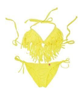 مایو Chynna Dolls دو تکه زنانه طرح ریش ریش زرد