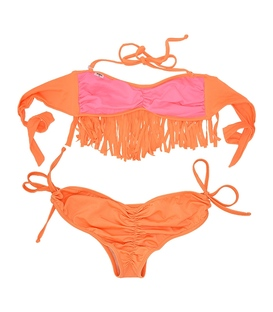 مایو Chynna Dolls دو تکه زنانه طرح ریش ریش نارنجی