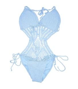 مایو Chynna Dolls یک تکه زنانه طرح بافتنی آبی کمرنگ