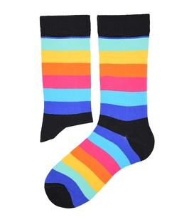 جوراب ساق دار هپی و مپی طرح راه راه رنگارنگ مشکی