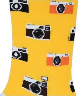 جوراب ساقدار بوم طرح دوربین زرد