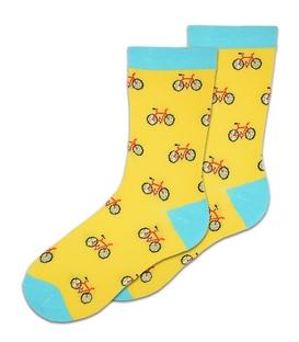 جوراب ساقدار بوم طرح دوچرخه زرد