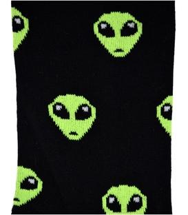 جوراب ساق دار بوم طرح Alien مشکی سبز