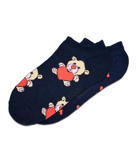 جوراب مچی لنگه به لنگه بوم طرح خرس و قلب سرمهای